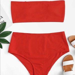 Ribbed High Waist Orange Bikini
